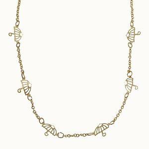Vintage Gold Tiny Umbrella Chain Necklace